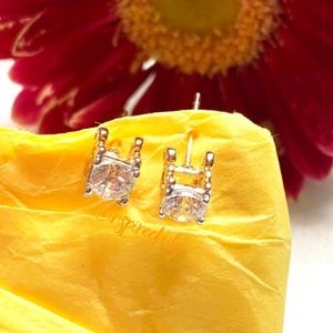 Gold Tone Clear Crystal Design Stud Earrings